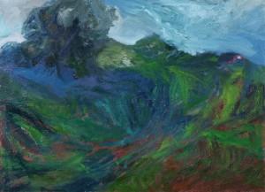 Buisson au bord du gouffre, 2015, huile sur toile, 81 x 116 cm